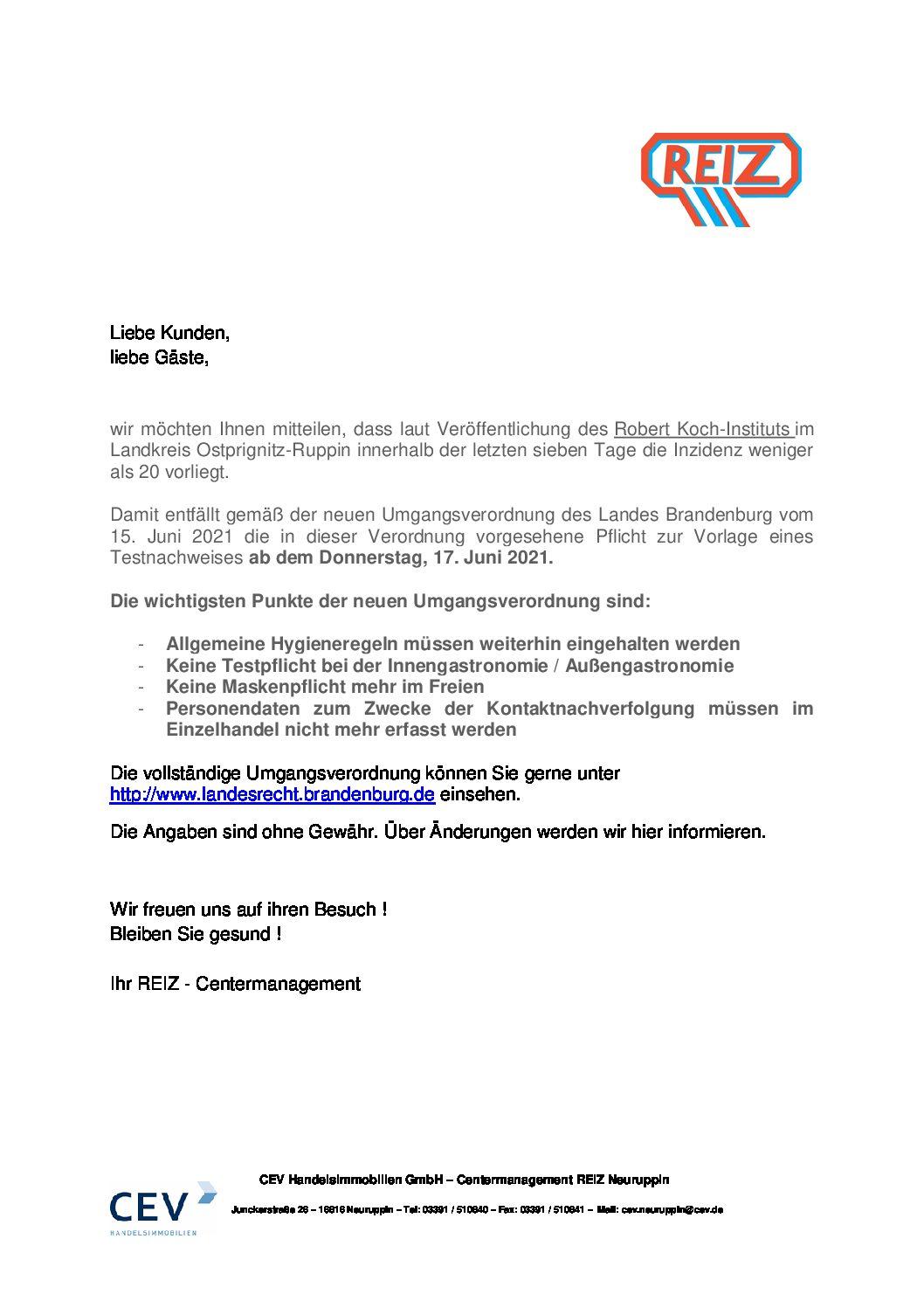 Information – Neue Umgangsverordnung des Landes Brandenburg